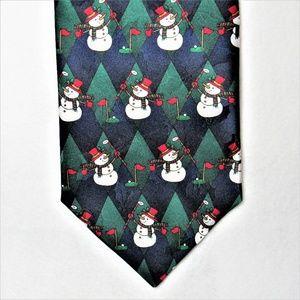 Snowmen Golfing Christmas Necktie